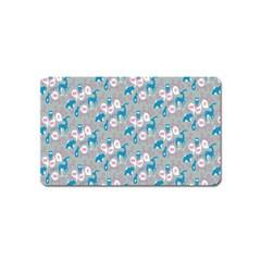 Animals Deer Owl Bird Bear Grey Blue Magnet (Name Card)