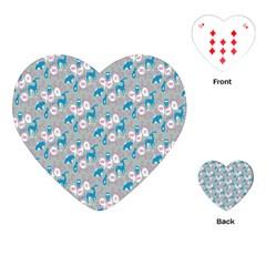 Animals Deer Owl Bird Bear Grey Blue Playing Cards (Heart)