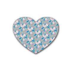 Animals Deer Owl Bird Bear Grey Blue Heart Coaster (4 pack)