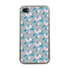 Animals Deer Owl Bird Bear Grey Blue Apple iPhone 4 Case (Clear)