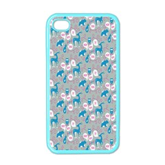 Animals Deer Owl Bird Bear Grey Blue Apple iPhone 4 Case (Color)