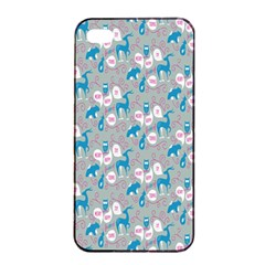 Animals Deer Owl Bird Bear Grey Blue Apple iPhone 4/4s Seamless Case (Black)
