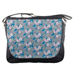 Animals Deer Owl Bird Bear Grey Blue Messenger Bags