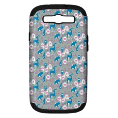Animals Deer Owl Bird Bear Grey Blue Samsung Galaxy S III Hardshell Case (PC+Silicone)