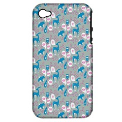 Animals Deer Owl Bird Bear Grey Blue Apple iPhone 4/4S Hardshell Case (PC+Silicone)