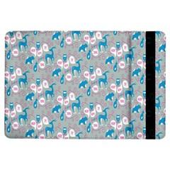 Animals Deer Owl Bird Bear Grey Blue iPad Air Flip