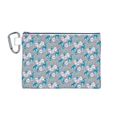 Animals Deer Owl Bird Bear Grey Blue Canvas Cosmetic Bag (M)