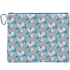 Animals Deer Owl Bird Bear Grey Blue Canvas Cosmetic Bag (XXXL)