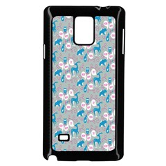 Animals Deer Owl Bird Bear Grey Blue Samsung Galaxy Note 4 Case (Black)