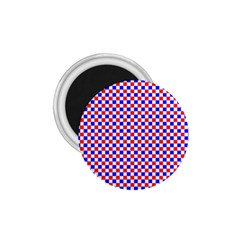 Blue Red Checkered Plaid 1.75  Magnets