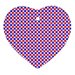 Blue Red Checkered Plaid Ornament (Heart)