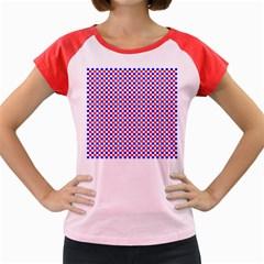 Blue Red Checkered Plaid Women s Cap Sleeve T-Shirt