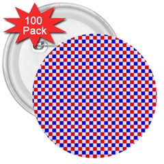 Blue Red Checkered Plaid 3  Buttons (100 pack)