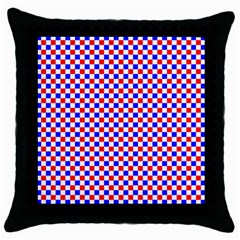 Blue Red Checkered Plaid Throw Pillow Case (Black)
