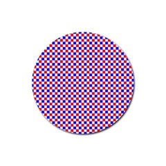 Blue Red Checkered Plaid Rubber Coaster (Round)