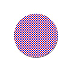 Blue Red Checkered Plaid Magnet 3  (round)
