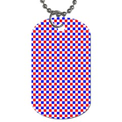 Blue Red Checkered Plaid Dog Tag (Two Sides)