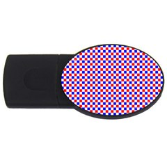 Blue Red Checkered Plaid USB Flash Drive Oval (2 GB)
