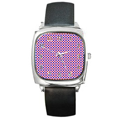 Blue Red Checkered Plaid Square Metal Watch