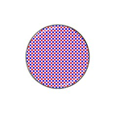 Blue Red Checkered Plaid Hat Clip Ball Marker