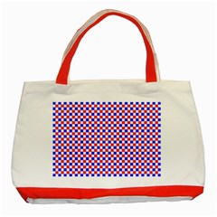 Blue Red Checkered Plaid Classic Tote Bag (Red)