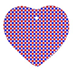 Blue Red Checkered Plaid Heart Ornament (Two Sides)