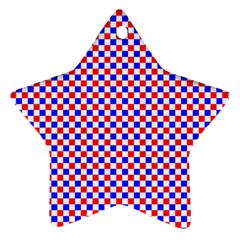 Blue Red Checkered Plaid Star Ornament (Two Sides)