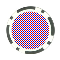 Blue Red Checkered Plaid Poker Chip Card Guard