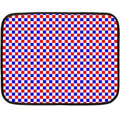 Blue Red Checkered Plaid Double Sided Fleece Blanket (Mini)