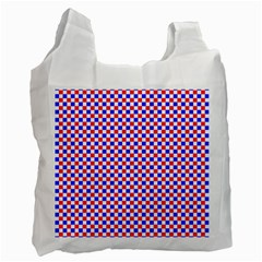 Blue Red Checkered Plaid Recycle Bag (One Side)