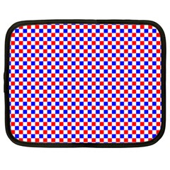 Blue Red Checkered Plaid Netbook Case (XXL)