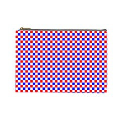 Blue Red Checkered Plaid Cosmetic Bag (Large)
