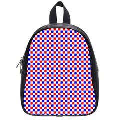 Blue Red Checkered Plaid School Bags (Small)