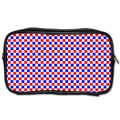 Blue Red Checkered Plaid Toiletries Bags 2-Side