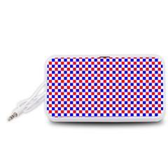 Blue Red Checkered Plaid Portable Speaker (White)