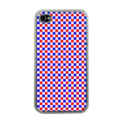 Blue Red Checkered Plaid Apple iPhone 4 Case (Clear)