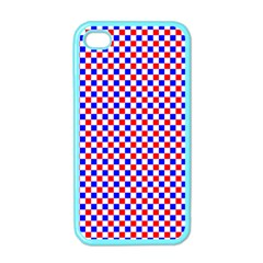 Blue Red Checkered Plaid Apple iPhone 4 Case (Color)