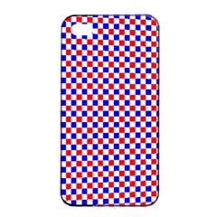 Blue Red Checkered Plaid Apple iPhone 4/4s Seamless Case (Black)