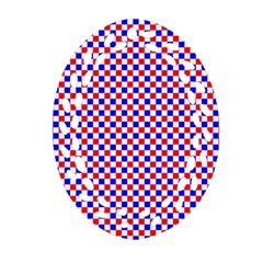 Blue Red Checkered Plaid Oval Filigree Ornament (Two Sides)