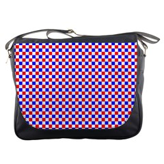 Blue Red Checkered Plaid Messenger Bags