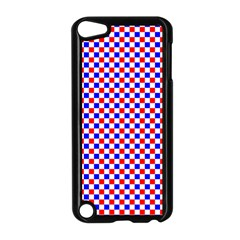 Blue Red Checkered Plaid Apple iPod Touch 5 Case (Black)