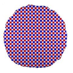Blue Red Checkered Plaid Large 18  Premium Round Cushions
