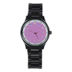 Blue Red Checkered Plaid Stainless Steel Round Watch
