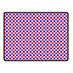 Blue Red Checkered Plaid Double Sided Fleece Blanket (Small)