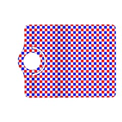 Blue Red Checkered Plaid Kindle Fire HD (2013) Flip 360 Case