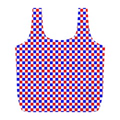 Blue Red Checkered Plaid Full Print Recycle Bags (L)