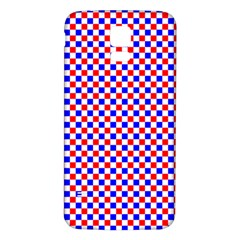 Blue Red Checkered Plaid Samsung Galaxy S5 Back Case (White)