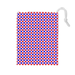 Blue Red Checkered Plaid Drawstring Pouches (Large)