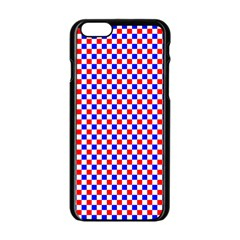 Blue Red Checkered Plaid Apple iPhone 6/6S Black Enamel Case