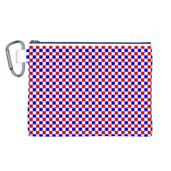 Blue Red Checkered Plaid Canvas Cosmetic Bag (L)
